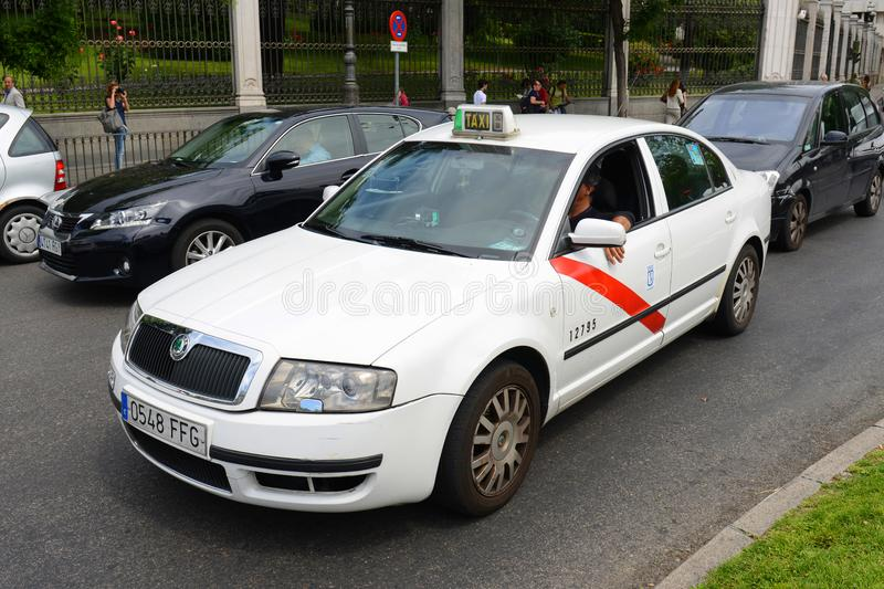 Madrid Taxi in Madrid, Spain royalty free stock photography