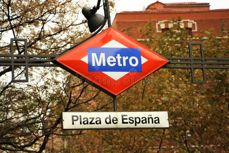 Madrid tunnelbanatecken arkivfoto