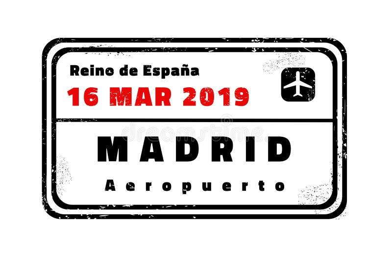 Madrid vector stamp. Madrid passport stamp. Novelty vector travel stamp with destination city in Spain vector illustration