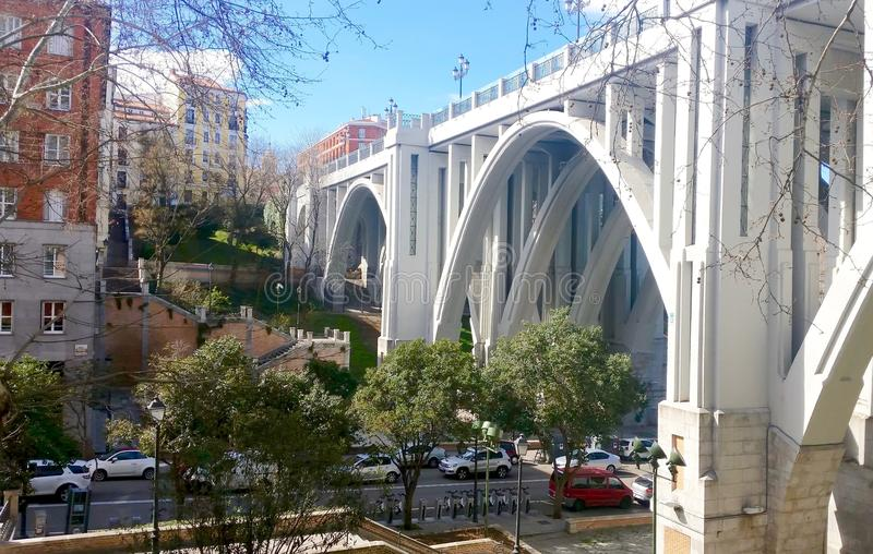 Madrid Viaduct a sunny morning stock images