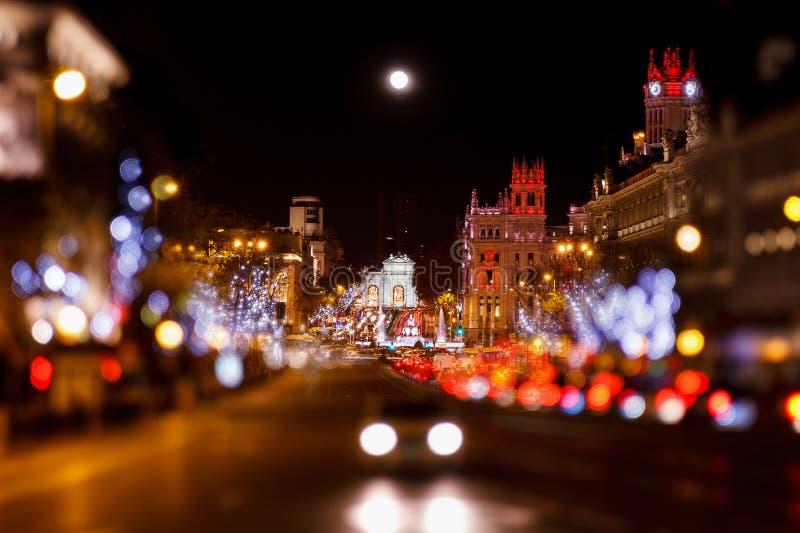 Madrid am Weihnachten stockfoto