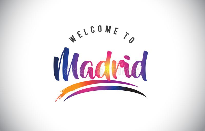 Madrid Welcome To Message in Purple Vibrant Modern Colors. vector illustration