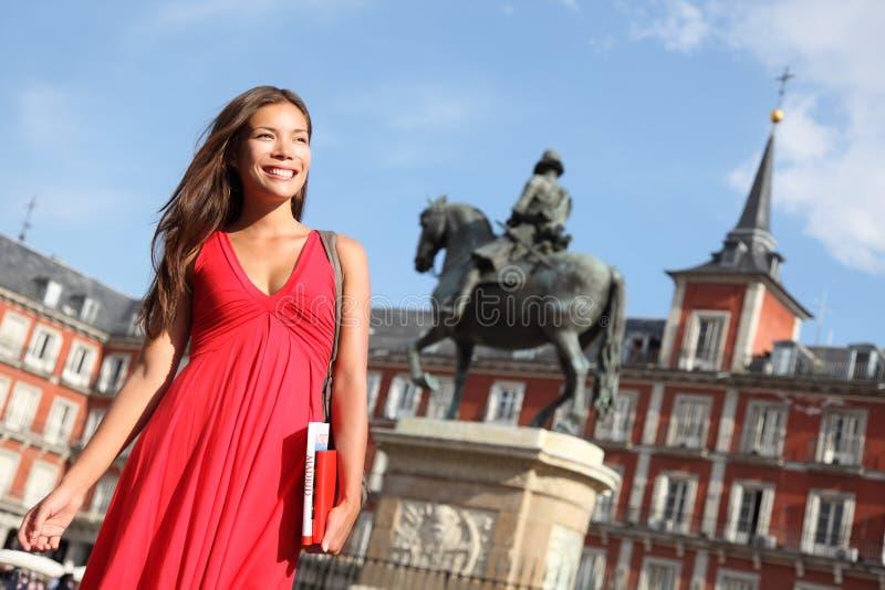 Madrid - Woman on Plaza Mayor stock photography