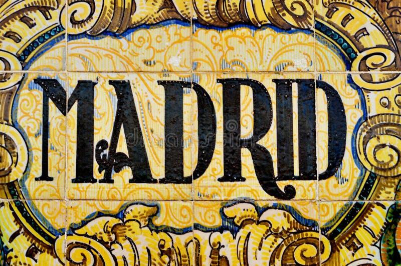 Madrid-Zeichen lizenzfreie stockfotos