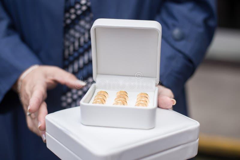 Madrinha que guarda moedas do casamento fotos de stock royalty free