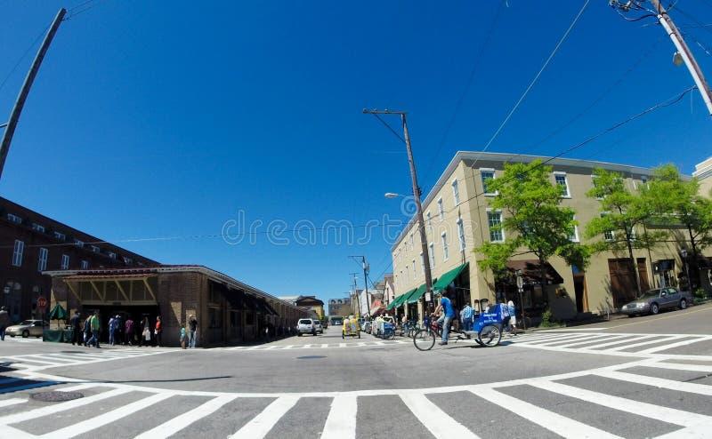 Madrugada en la calle de mercado del norte, Charleston, SC fotografía de archivo libre de regalías