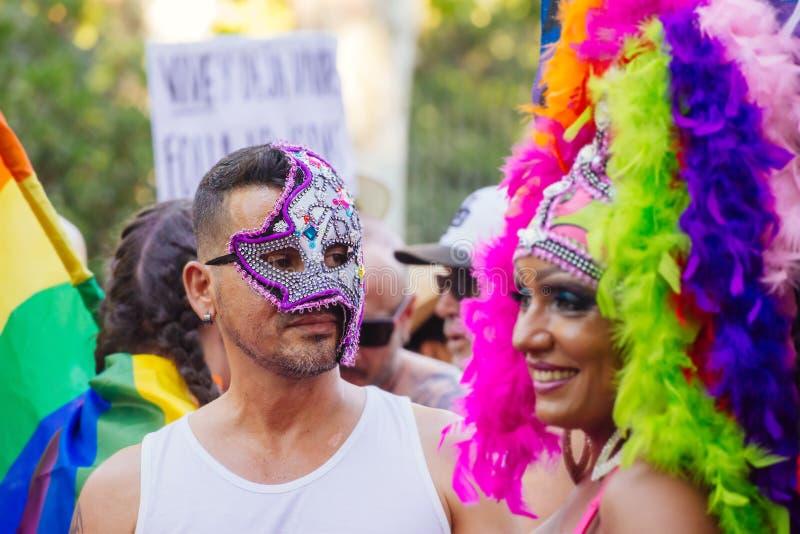 MADRYT HISZPANIA, LIPIEC, - 6, 2016: Roczna Madryt homoseksualna duma (Madryt Lub fotografia stock