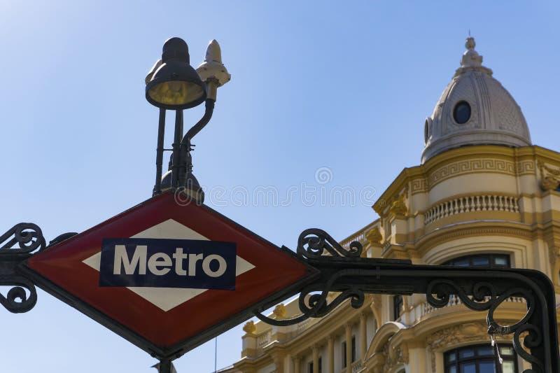 Madryt, Hiszpania metro znak zdjęcia royalty free