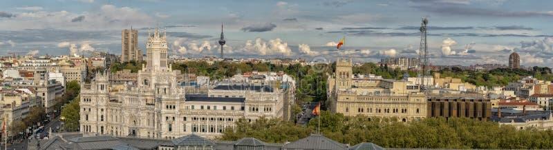 Madryt Hiszpania pejzażu miejskiego powietrzna panorama zdjęcia royalty free