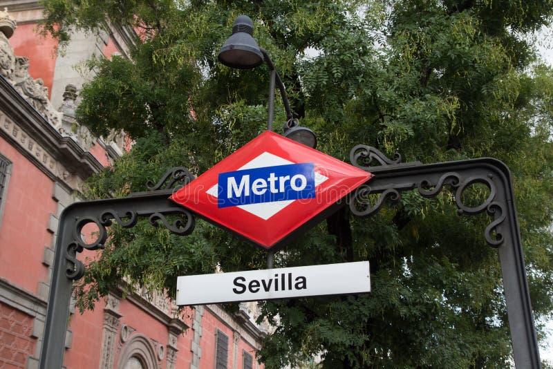 Madryt metra znak zdjęcie royalty free