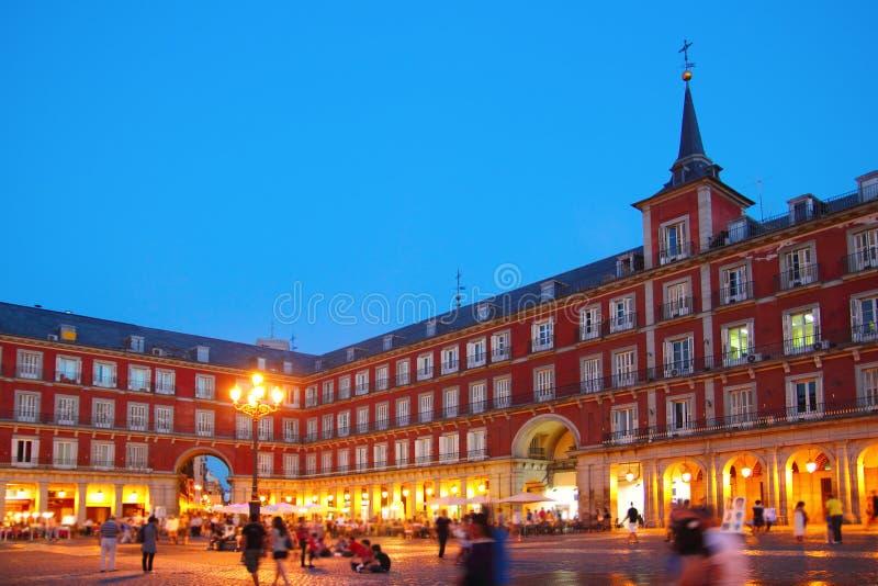 Madryt Placu Mayor typowy kwadrat w Hiszpania obraz royalty free