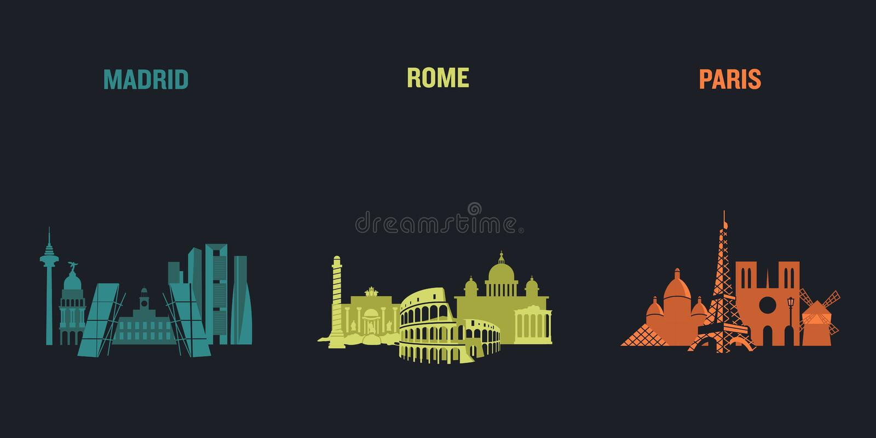 Madryt, Rzym i Paryż, ilustracji
