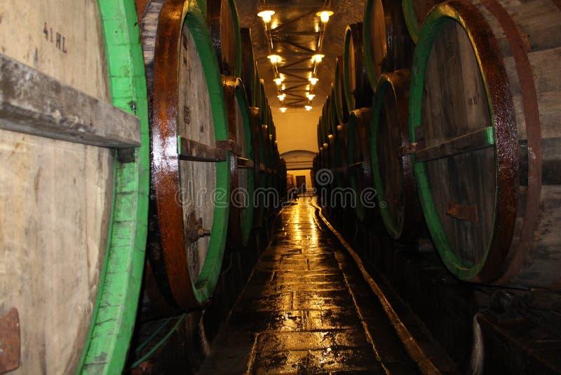 Maduración de la cerveza en barriletes de madera imagen de archivo