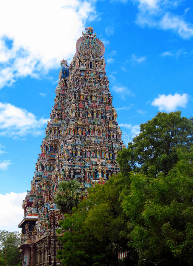 Madurai gopuram Meenakshi Amman świątynia fotografia royalty free