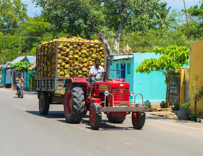 MADURAI INDIA, LUTY, - 17: Indiański wiejski mężczyzna jedzie na samochodu wi zdjęcie royalty free