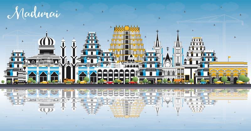 Madurai Indien stadshorisont med färgbyggnader, blå himmel och reflexioner