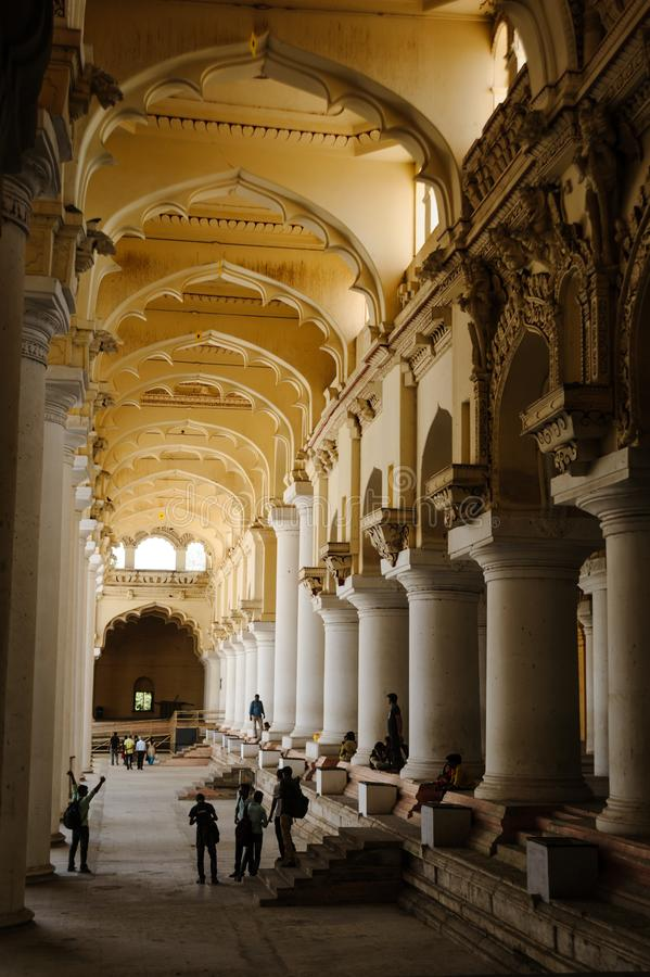 23 Madurai Luty 2018, India Thirumalai Nayak pałac hindusa architektura fotografia royalty free