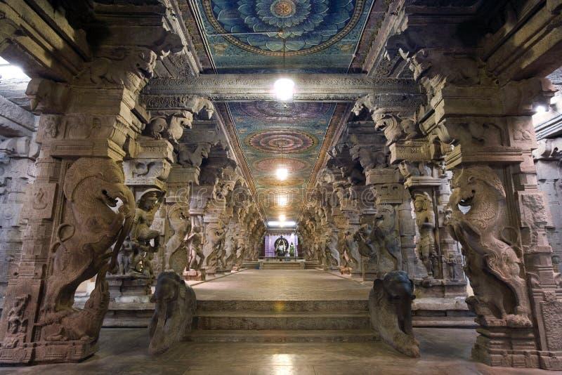 Madurai - Minakshi Temple - India. Part of the 1000 Pillar Hall in the Minakshi Sundareshvera Hindu Temple in the town of Madurai in the Tamil Nadu region of royalty free stock image