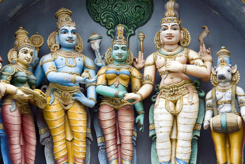 Madurai - Tamil Nadu - India. Hindu deities in the Minakshi Sundareshvara Temple in Madurai in the Tamil Nadu region of Southern India royalty free stock photography