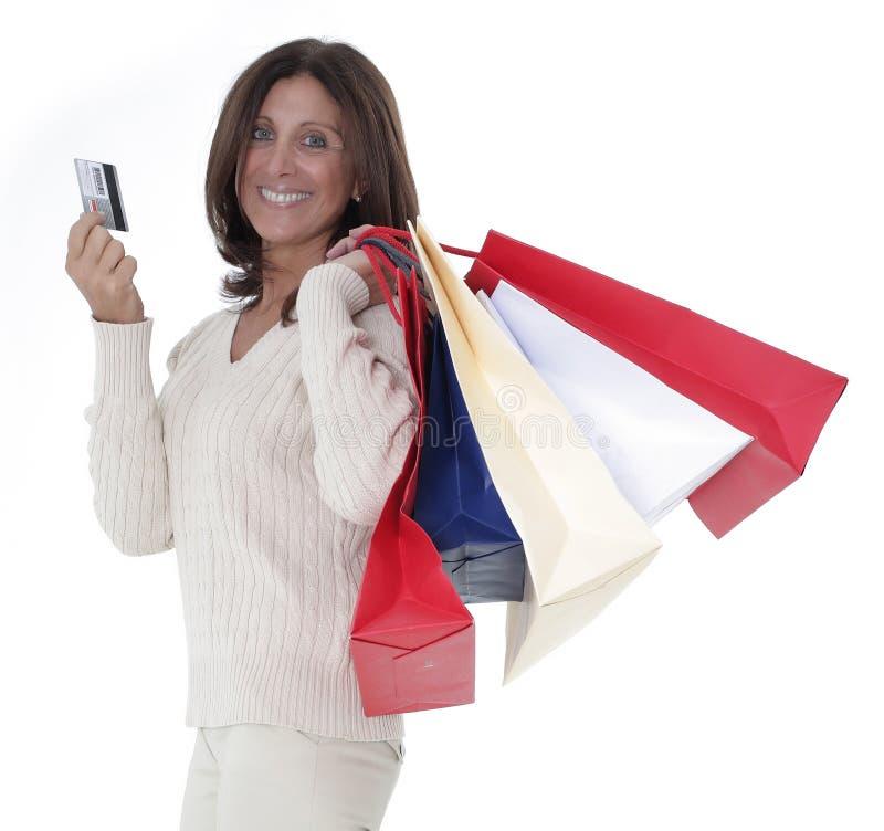 Madure las compras de la mujer fotografía de archivo