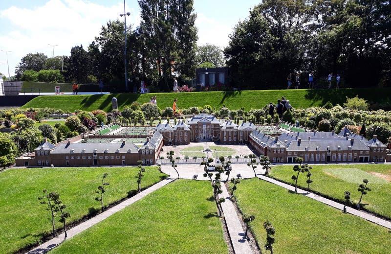 Madurodam. Garden from Royal palace `Het Loo` , Apeldoorn. 17-July 2018. Miniature attraction park Madurodam in The Hague, Netherlands, South Holland, Europe royalty free stock photo