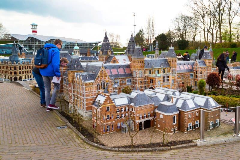 Madurodam, miniature park and tourist attraction in Hague, Netherlands. Hague, Netherlands - April 8, 2016: Madurodam, Holland miniature park and tourist stock image