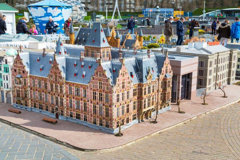 Madurodam, miniature park and tourist attraction in Hague, Netherlands. Hague, Netherlands - April 8, 2016: Madurodam, Holland miniature park and tourist stock photos