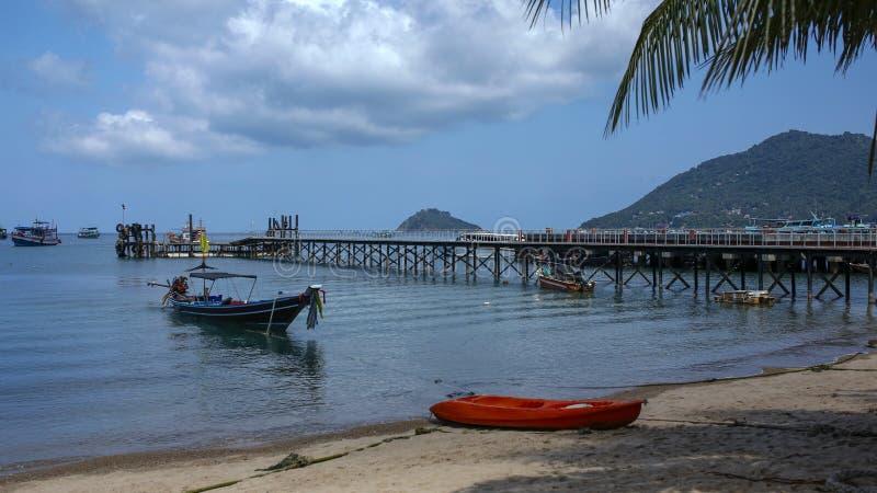 Mae Haad Pier on Koh Tao, Thailand. Mae Haad Pier on paradise beach- Koh Tao, Thailand royalty free stock image