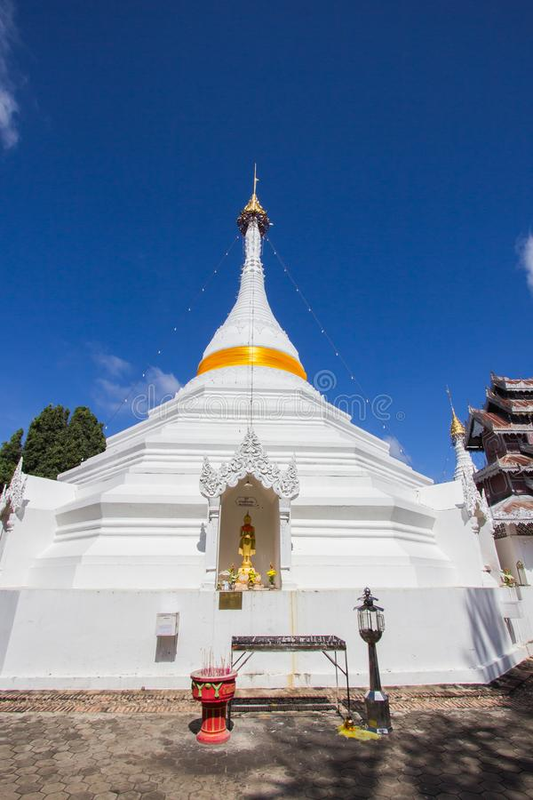 Mae Hong Son province,Northern Thailand on November 19,2017: Burmese style white chedis with beautiful sky at Wat Phra That Doi Ko stock photography