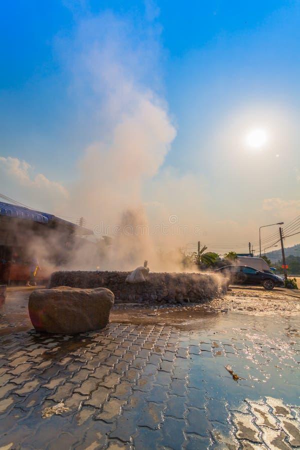 Mae Kajan Hot Spring at Wiang Pa Pao Chiang Rai Thailand. Sunset above Mae Kajan Hot Spring at Wiang Pa Pao Chiang Rai Thailand. have hotspring pools both side royalty free stock image