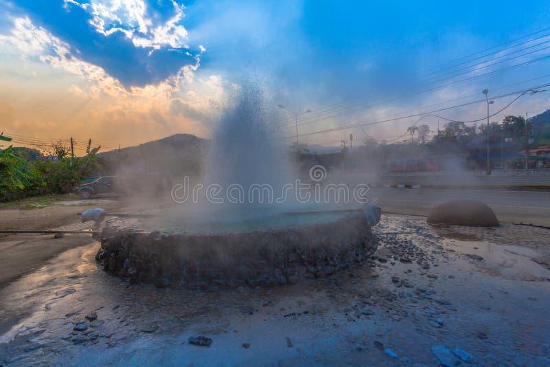Mae Kajan Hot Spring at Wiang Pa Pao Chiang Rai Thailand. Sunset above Mae Kajan Hot Spring at Wiang Pa Pao Chiang Rai Thailand. have hotspring pools both side stock photo
