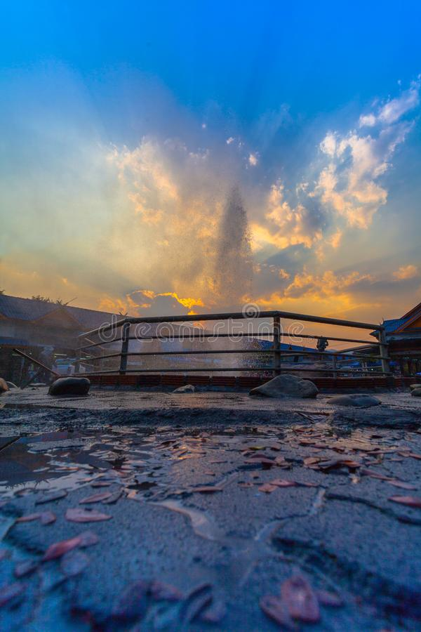 Mae Kajan Hot Spring at Wiang Pa Pao Chiang Rai Thailand. Sunset above Mae Kajan Hot Spring at Wiang Pa Pao Chiang Rai Thailand. have hotspring pools both side royalty free stock photo