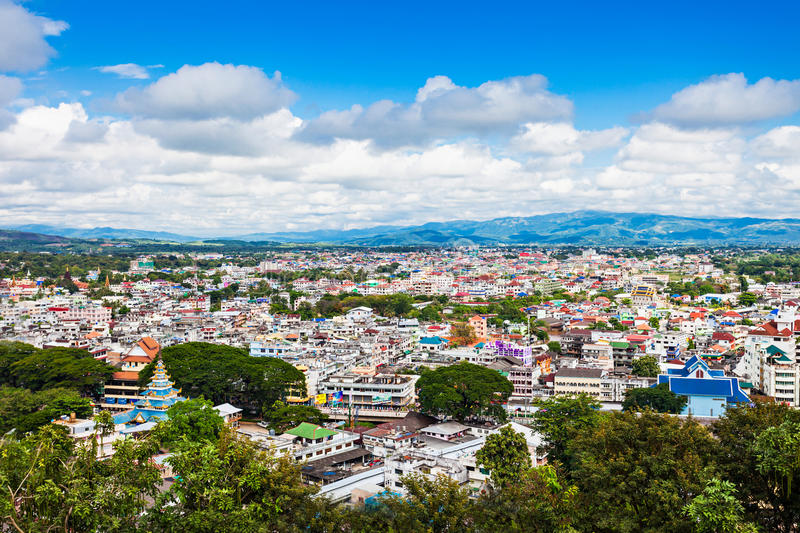 Mae Sai city. Mae Sai aerial view from Wat Phra That Wai Dao (Black Scorpion Temple), Thailand stock images
