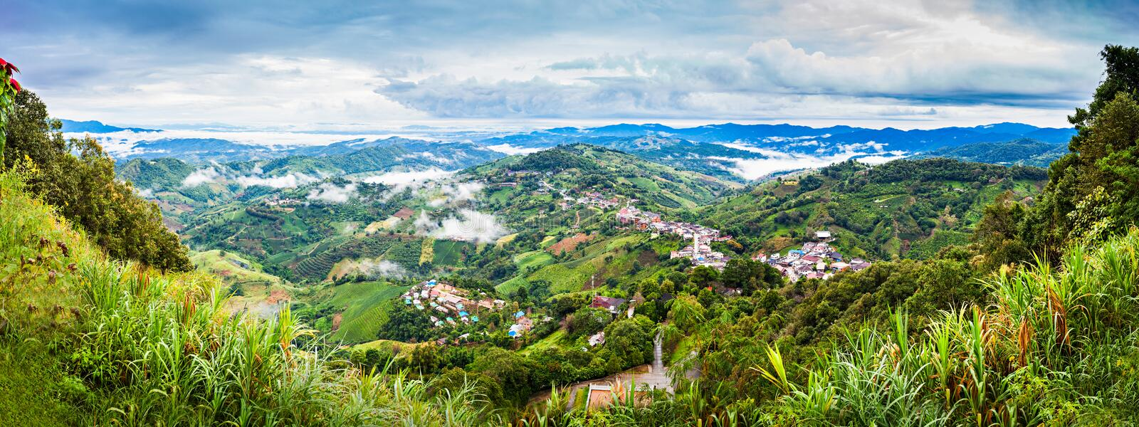 Mae Salong. Aerial view, Chiang Rai Province, Northern Thailand royalty free stock photography