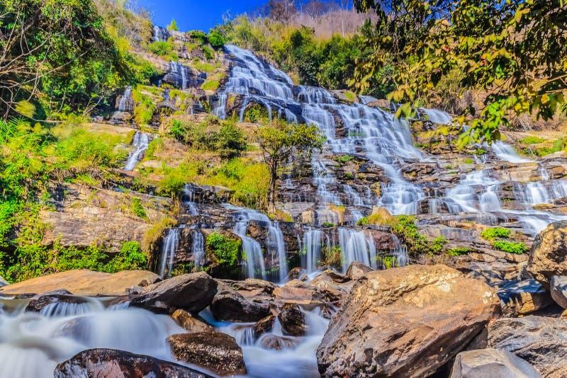 Mae Ya瀑布美好的风景视图在土井nat的Inthanon 免版税库存图片
