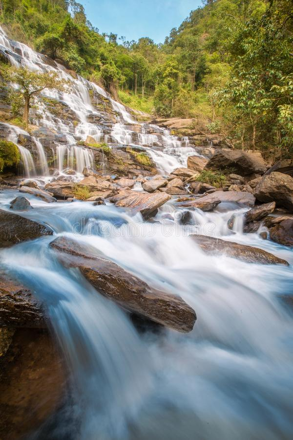 Mae Ya Waterfall. Is beautiful natural of Doi Inthanon at Chiang Mai province in Thailand and very popular for photographers and tourists. Traveling and royalty free stock photos