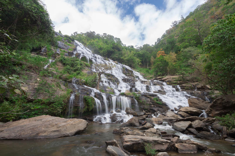 Mae Ya Waterfall, the popular place in Chiang Mai , Thailand stock photo