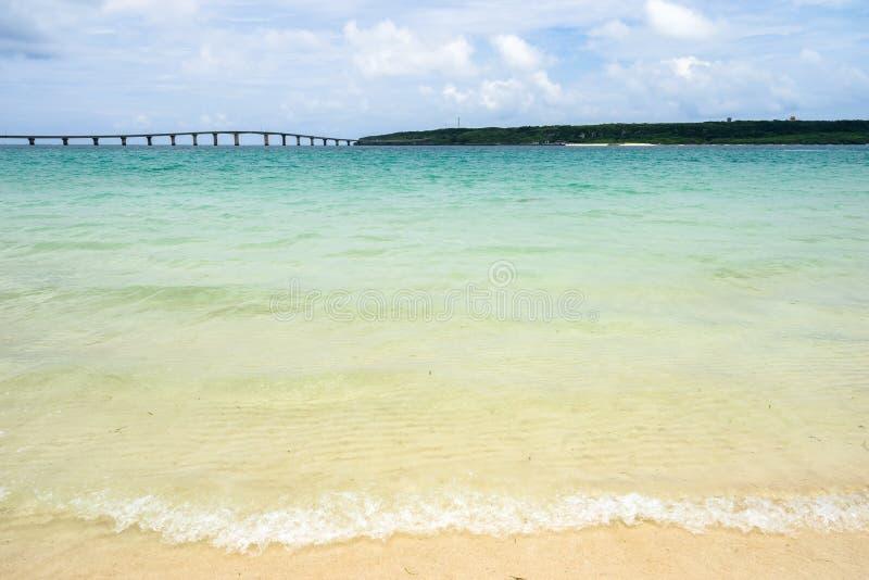 Maehama Beach and Kurima Bridge royalty free stock photos