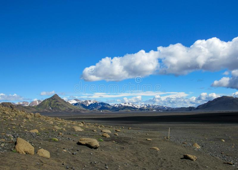 Landscape of Maelifellsandur volcanic black sand desert with Tindafjallajokull glacier and blue sky, summer in Highlands of. Maelifellsandur black sand volcanic royalty free stock images