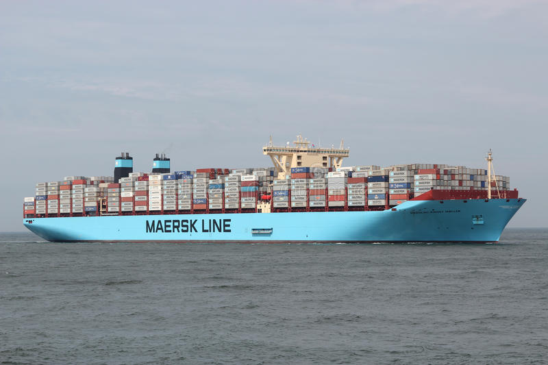 MAERSK MC-KINNEY MOLLER on its maiden voyage to Rotterdam. At this time it had the largest cargo capacity in TEU of any vessel worldwide stock images