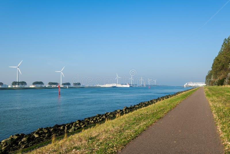 The Maeslantkering, a huge storm surge barrier on the Nieuwe Waterweg, Netherlands. The Maeslantkering is a huge storm surge barrier on the Nieuwe Waterweg. The royalty free stock image