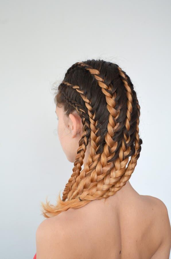Maestría de tejer del pelo con la longitud larga del pelo imagenes de archivo