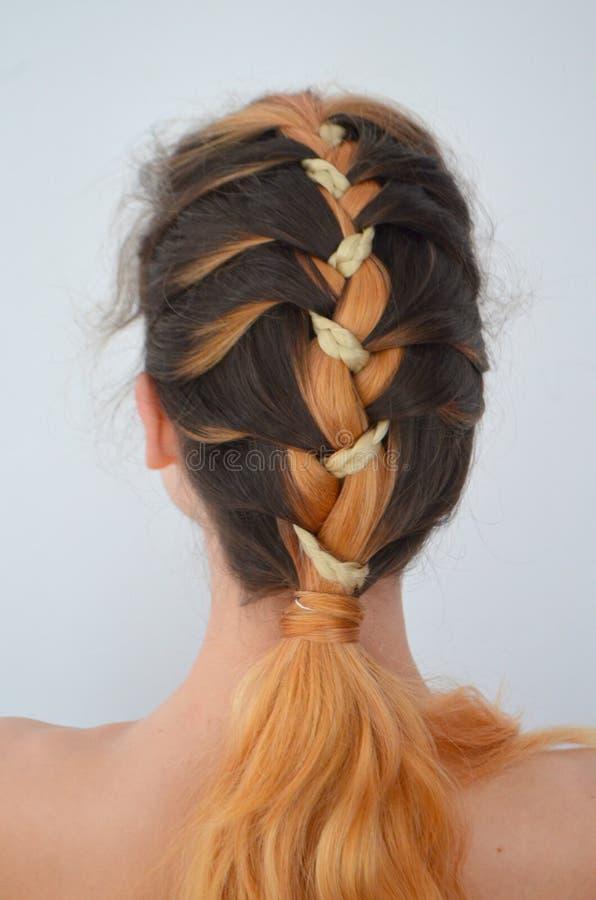 Maestría de tejer del pelo con la longitud larga del pelo foto de archivo