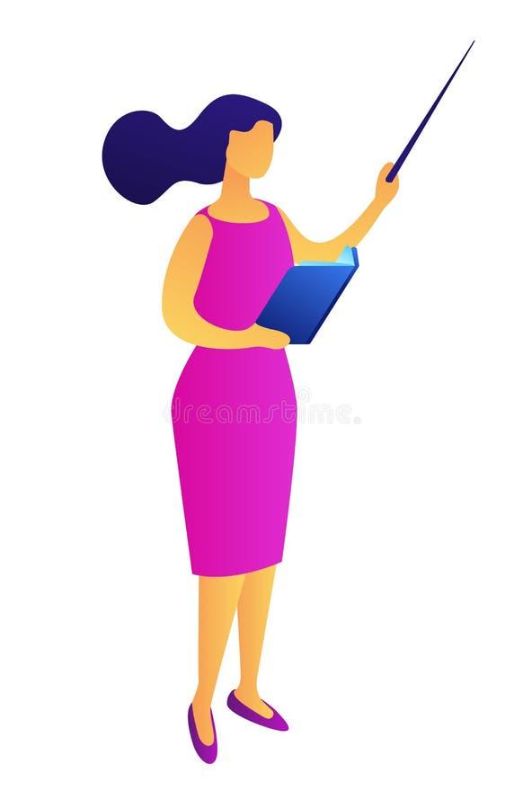 Maestra con un libro y un ejemplo isom?trico 3D del indicador libre illustration