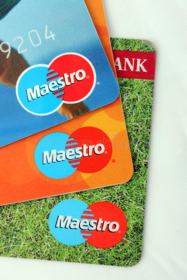 Maestro bank cards royalty free stock image