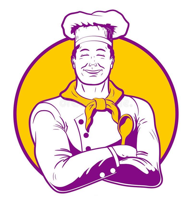 Maestro cocinero feliz Cuisine en un uniforme blanco con brazos cruzados y una cuchara stock de ilustración