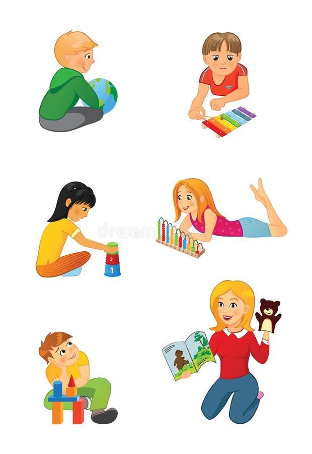 Maestro di scuola e bambini elementari illustrazione di stock