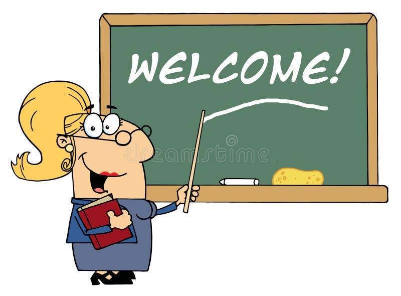 Maestro di scuola femminile biondo che indica il benvenuto sopra illustrazione di stock