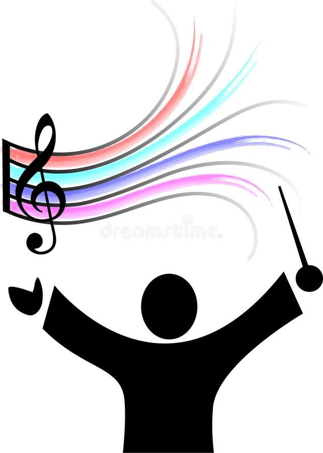 Maestro e música de orquestra ilustração royalty free