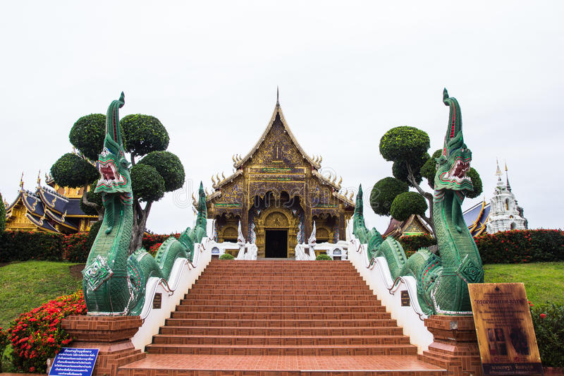 Beautiful place of worship with religious teachings in Chiangmai Thailand, Wat Baan Den. MAETANG, CHAINGMAI - OCT13, 2015: Beautiful place of worship with royalty free stock images